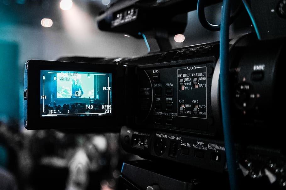 Black camcorder recording