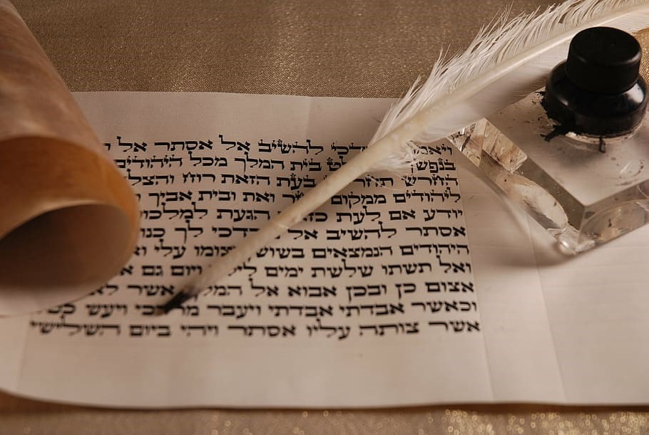 Hebrew calligraphy on paper