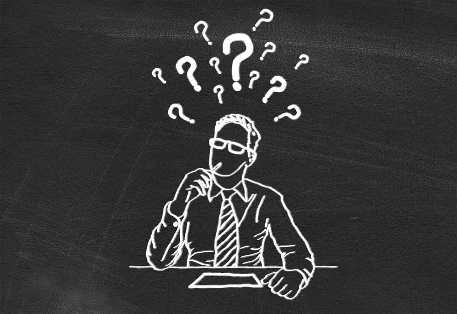 Blackboard illustration of a confused man